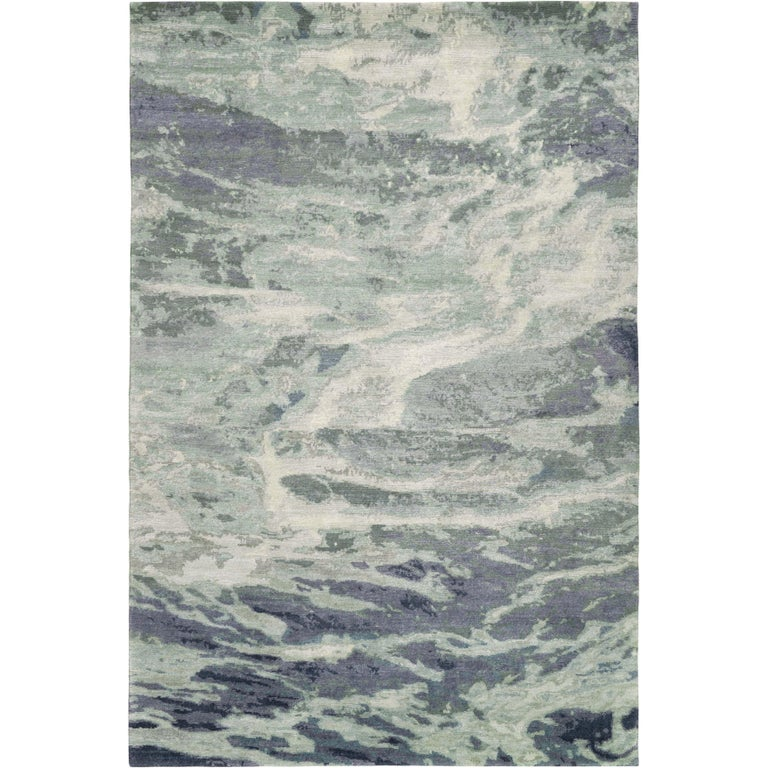 Oceanic Handcrafted 10x8 Rug in Wool by The Rug Company For Sale
