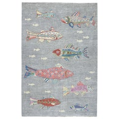 Oceanic Fish Design 100% Wool Peshawar Hand Knotted Oriental Rug