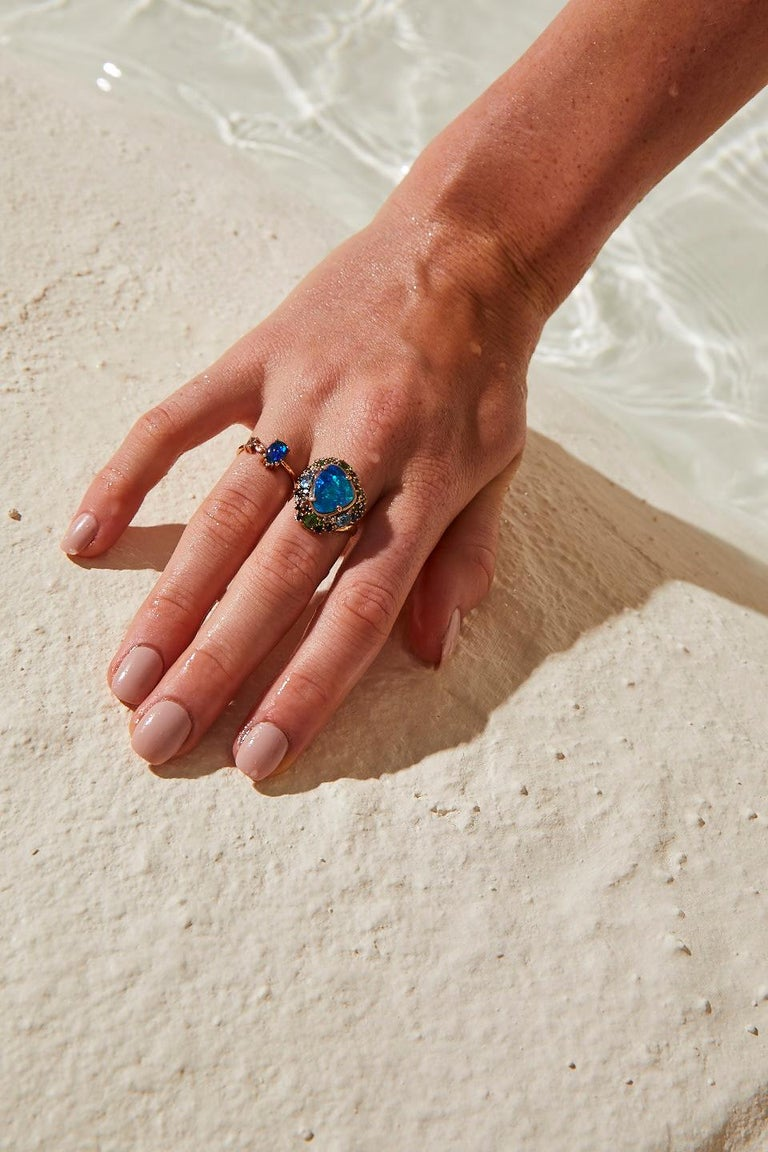 Oceanic Ring in Rose Gold with Blue Opal and White Diamond In New Condition For Sale In Istanbul, TR