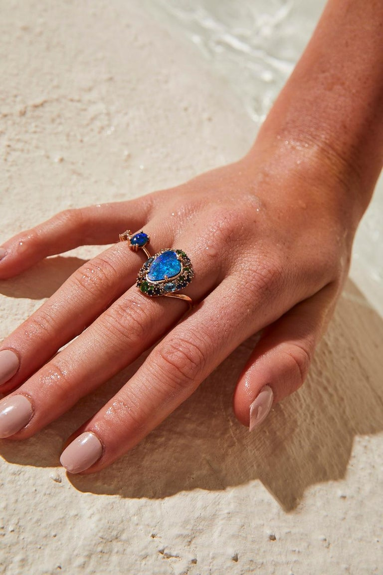 Women's Oceanic Ring in Rose Gold with Blue Opal and White Diamond For Sale