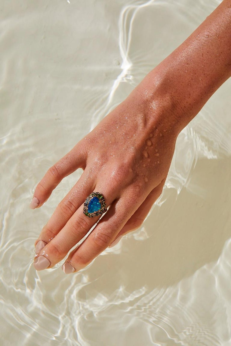 Oceanic Ring in Rose Gold with Blue Opal and White Diamond For Sale 1