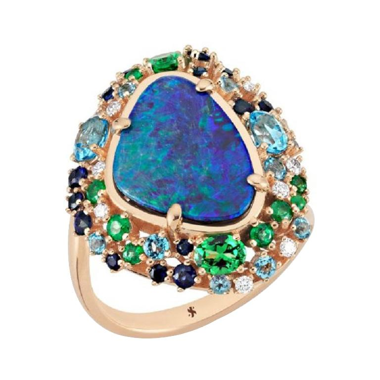 Oceanic Ring in Rose Gold with Blue Opal and White Diamond For Sale