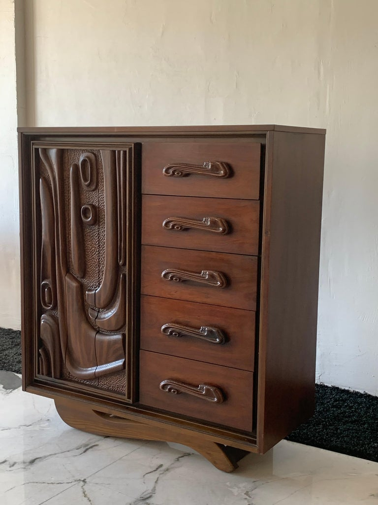 Lacquered Oceanic Sculpted Walnut Highboy Dresser by Pulaski Furniture Co., circa 1969 For Sale
