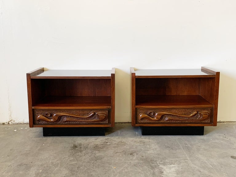 American Oceanic Sculpted Walnut Six-Piece Bedroom Set by Pulaski Furniture Co circa 1969