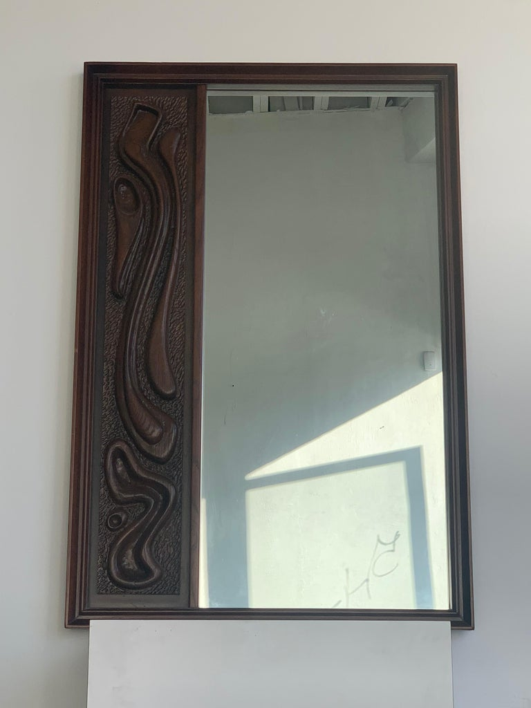 Lacquered Oceanic Sculpted Walnut Wall Mirror by Pulaski Furniture Co., circa 1969 For Sale