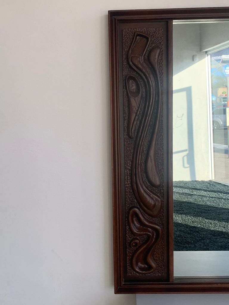 Oceanic Sculpted Walnut Wall Mirror by Pulaski Furniture Co., circa 1969 In Good Condition For Sale In Los Angeles, CA