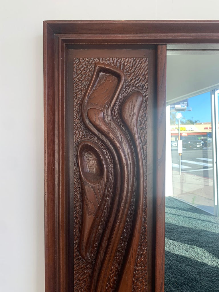 Oceanic Sculpted Walnut Wall Mirror by Pulaski Furniture Co., circa 1969 For Sale 1