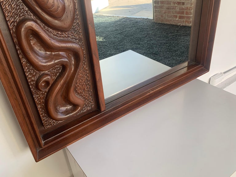 Oceanic Sculpted Walnut Wall Mirror by Pulaski Furniture Co., circa 1969 For Sale 2