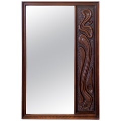 Oceanic Sculpted Walnut Wall Mirror by Pulaski Furniture Co., circa 1969