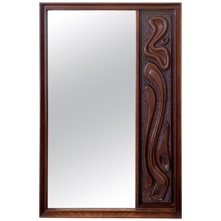 Oceanic Sculpted Walnut Wall Mirror by Pulaski Furniture Co., circa 1969 For Sale