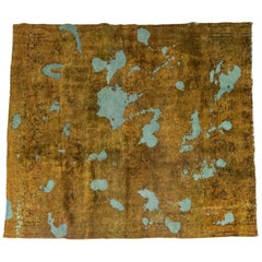 Ochre and Turquoise Persian Carpet, Unique Piece