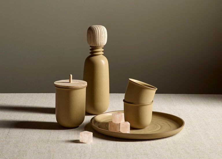Ochre, Carafe Teacup Set, Slip Cast Ceramic, N/O Service Collection In New Condition For Sale In Oakland, CA