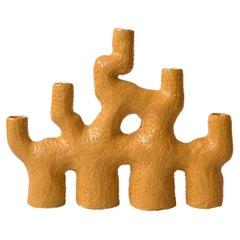 """Ochre Ceramic Sea Candelabra """"Five Arms Four Legs"""" by Jan Ernst de Wet"""