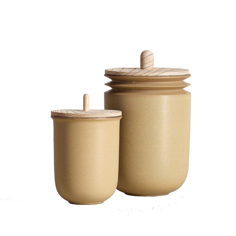Ochre, Jars, Set of 2, Slip Cast Ceramic, N/O Service Collection For Sale
