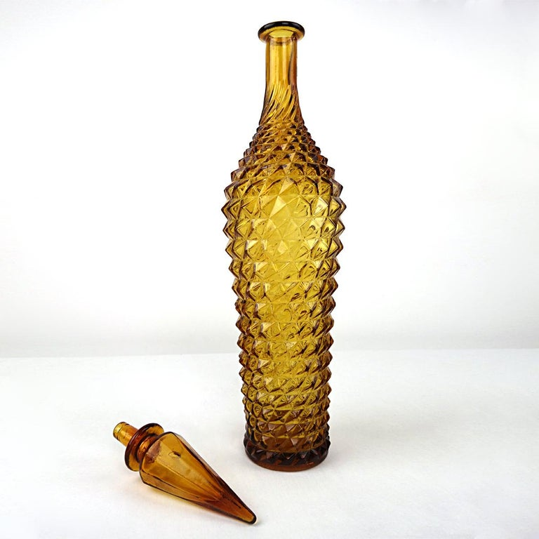 Ochre Midcentury Glass Genie Decanter with Stopper by Empoli In Good Condition For Sale In Doornspijk, NL