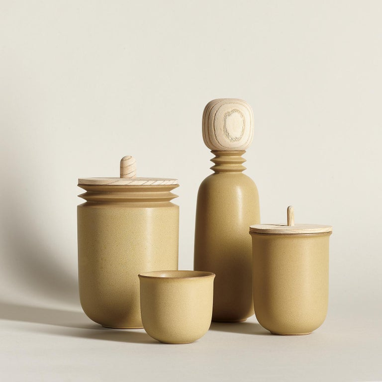 Ochre, Teacups, Set of 6, Slip Cast Ceramic, N/O Service Collection In New Condition For Sale In Oakland, CA