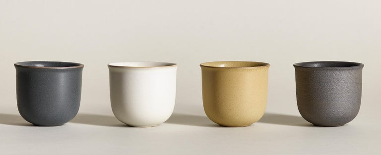 Contemporary Ochre, Teacups, Set of 6, Slip Cast Ceramic, N/O Service Collection For Sale