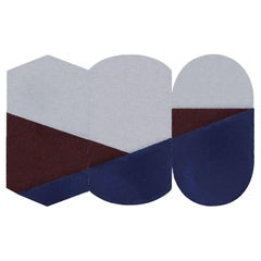 Oci Triptych M, Composition of 3 Rugs 100% Wool /Blue and Brick by Portego