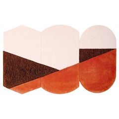Oci Triptych M, Composition of 3 Rugs 100% Wool / Brick Brown Pink by Portego