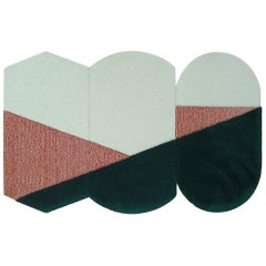 OCI Triptych M, Composition of 3 Rugs 100% Wool / Green/Brick by Portego