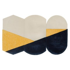 Oci Triptych M, Composition of 3 Rugs 100% Wool /Yellow and Deep Gray by Portego