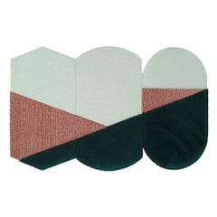 OCI Triptych S, Composition of 3 Rugs 100% Wool / Green/Brick by Portego