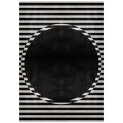 Ocli Black & White Area Rug in Hand-Tufted Wool & Botanical Silk