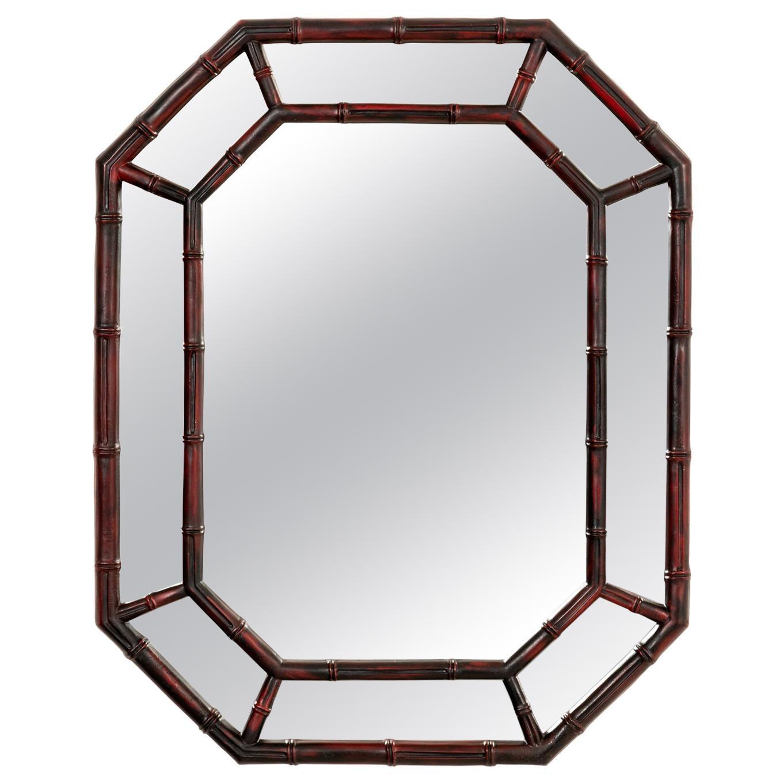 Octagon Faux Bamboo Mirror