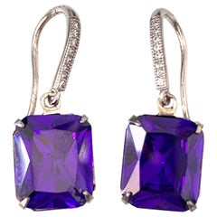 Octagon Lab Tanzanite on micropave sterling silver hook earrings