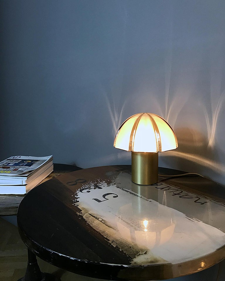 Space Age Octagon Mushroom Peill & Putzler Brass & Blown Glass Table Lamp, 1970s, Germany For Sale