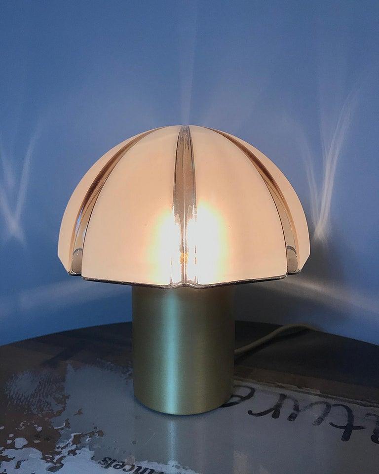 Metalwork Octagon Mushroom Peill & Putzler Brass & Blown Glass Table Lamp, 1970s, Germany For Sale