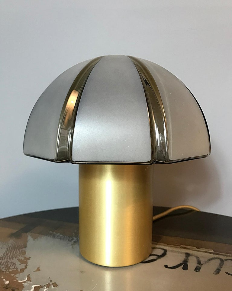 Late 20th Century Octagon Mushroom Peill & Putzler Brass & Blown Glass Table Lamp, 1970s, Germany For Sale