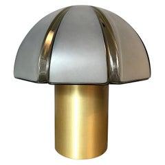 Octagon Mushroom Peill & Putzler Brass & Blown Glass Table Lamp, 1970s, Germany