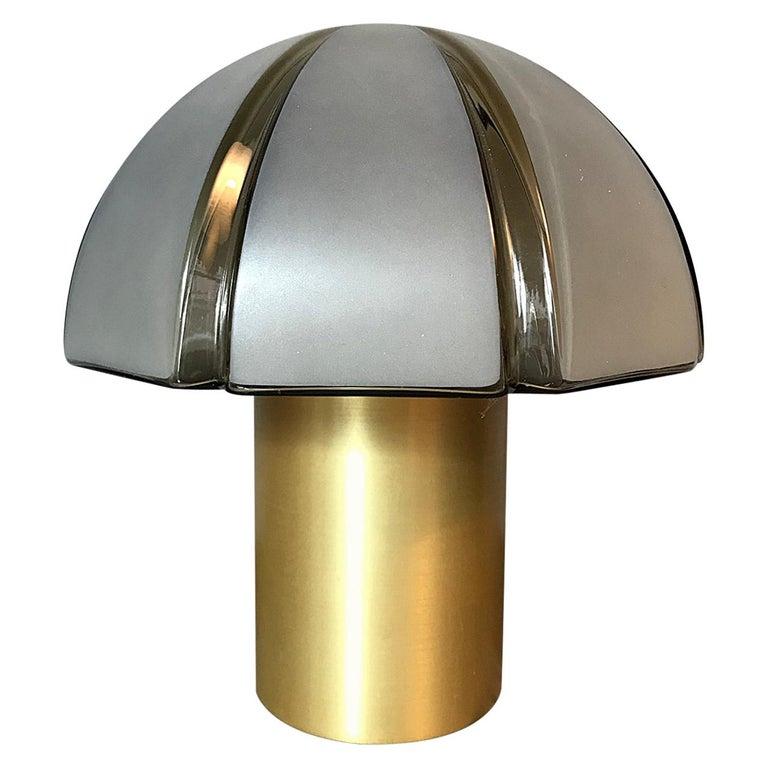 Octagon Mushroom Peill & Putzler Brass & Blown Glass Table Lamp, 1970s, Germany For Sale