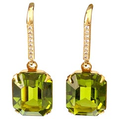 Octagon Olivine Swarovski Crystal on micropave vermeil hook earrings