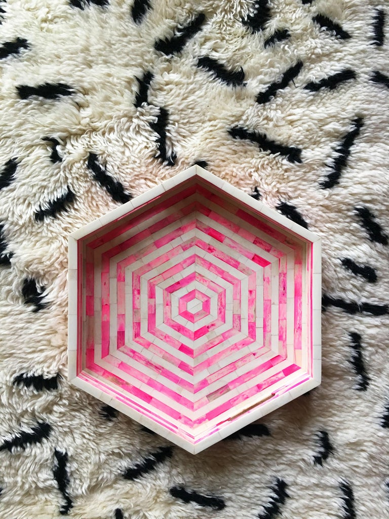 Indian Octagon Pink and White Stripped Bone Inlay Cocktail Tray For Sale