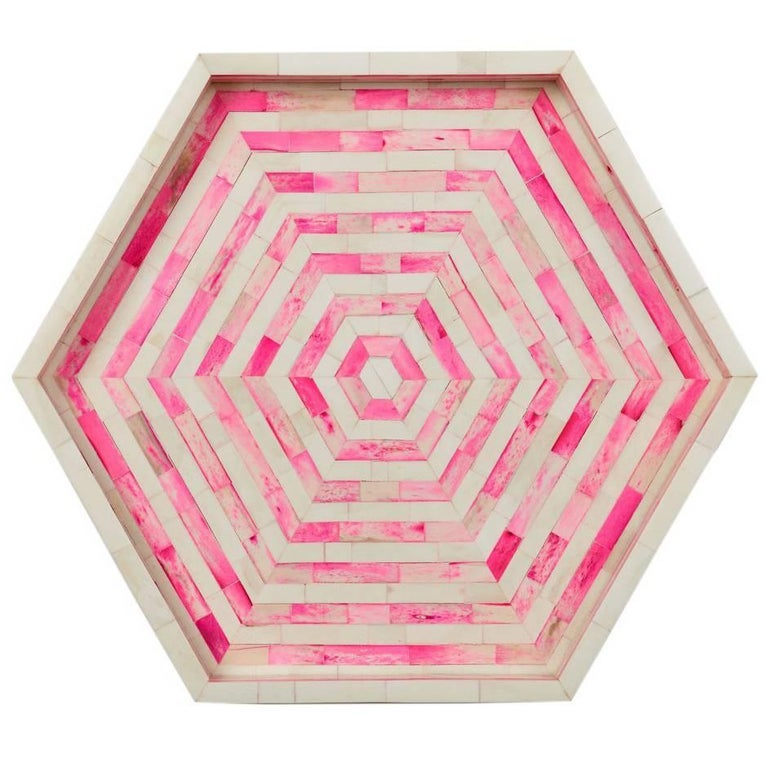Octagon Pink and White Stripped Bone Inlay Cocktail Tray For Sale