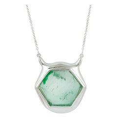 Octagon Shape Muzo Emerald Necklace Set in White 18k Gold