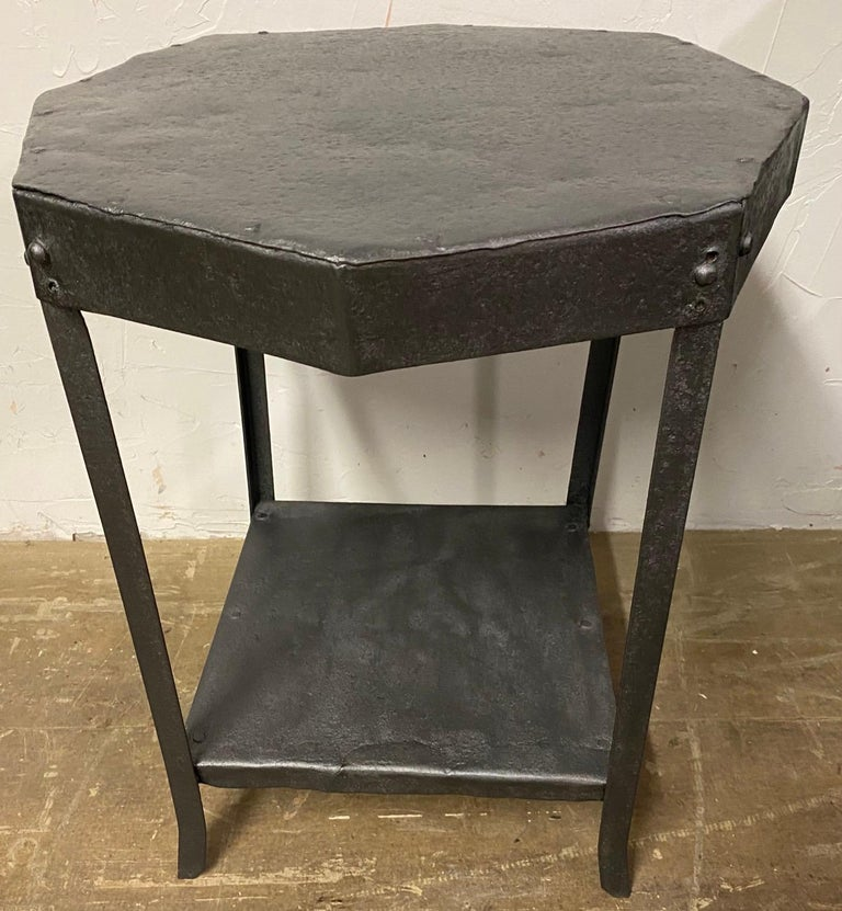 Industrial Octagon Shaped Metal Side Table For Sale