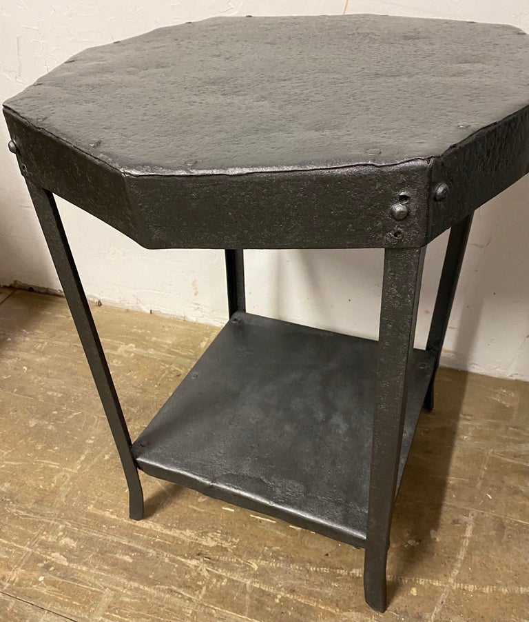 French Octagon Shaped Metal Side Table For Sale