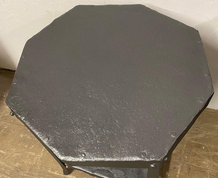 20th Century Octagon Shaped Metal Side Table For Sale