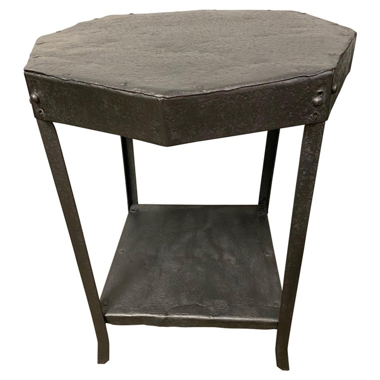 Octagon Shaped Metal Side Table For Sale