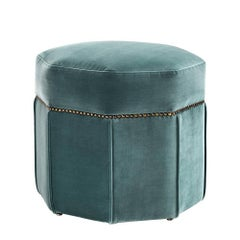 Octagon Stool Upholstered with Deep Turquoise Velvet