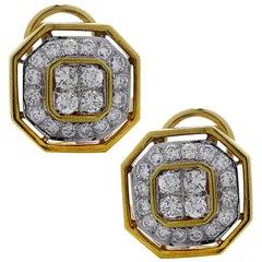 Octagonal 3 Carat Diamond Earrings