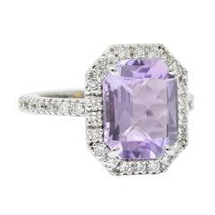 Octagonal Amethyst Diamond Halo 18 Karat White Gold Gemstone Ring