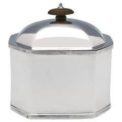Octagonal Antique Sterling Silver Tea Caddy from 1920 by Thomas Bradbury & Sons