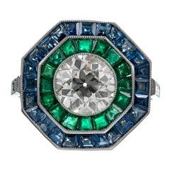 Octagonal Art Deco Style 2.49 Carat Old European Cut Diamond Ring