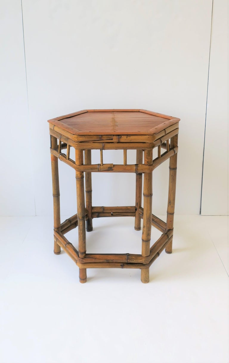 Octagonal Bamboo End Or Side Table