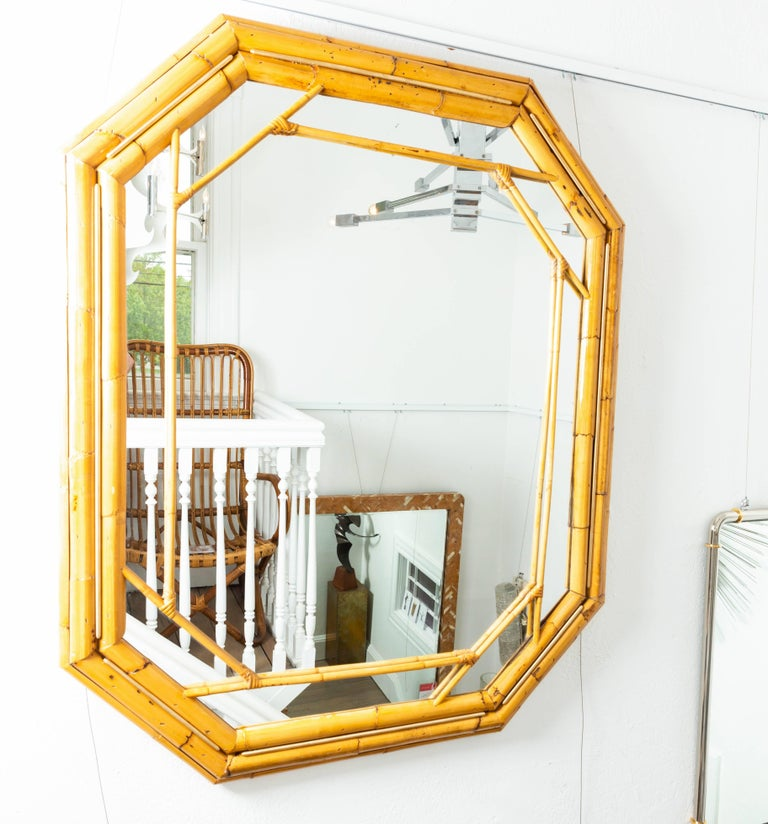 Mid-Century Modern Octagonal Bamboo Surround Mirror with Brass Details For Sale