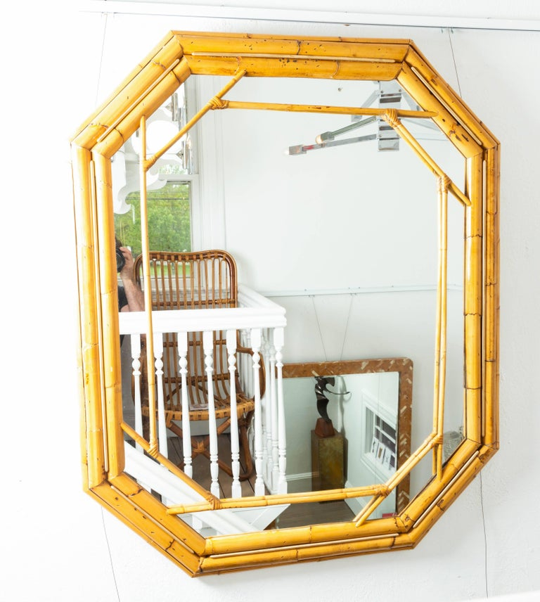 Italian Octagonal Bamboo Surround Mirror with Brass Details For Sale